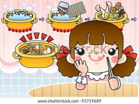 Cute Smiling Young Girl with Tasty and Spicy Ramen in a Snack Bar - background with pink lace curtain and ins