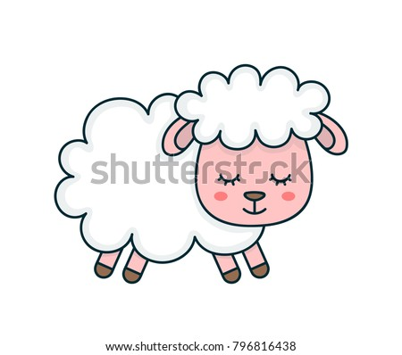 Cute smilng funny sleeping sweet sheep. Vector flat line cartoon character illustration icon design. Design for child card,t-shirt. Sheep animal concept