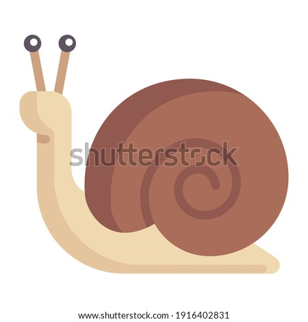 cute snail cartoon character with shell icon cartoon small animal illustration in nature isolated  Сток-фото ©