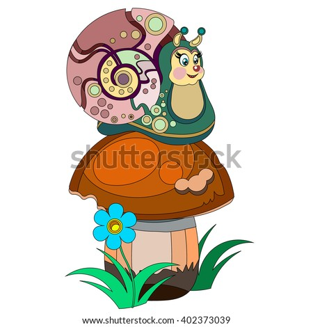 cute snail on a white
