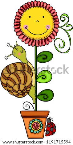 cute snail with sunflower in