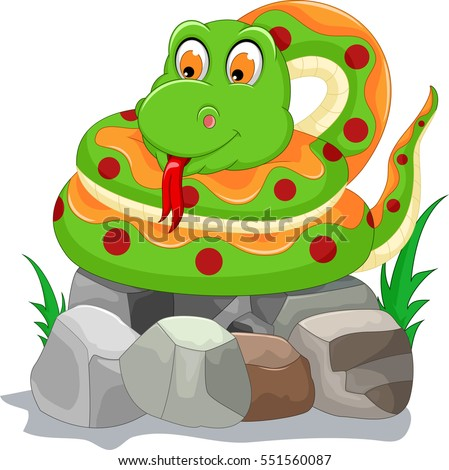 cute snake cartoon on the stone