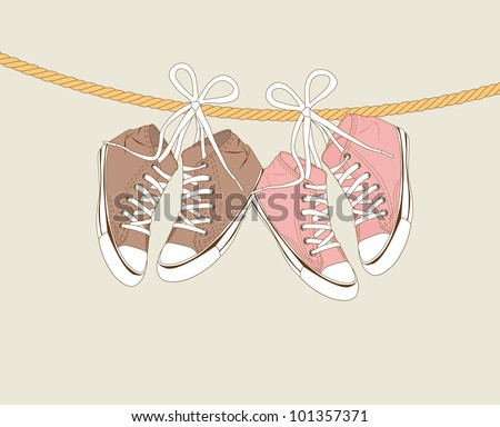 cute sneakers hanging of a rope over beige background. vector