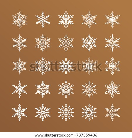 Cute snowflakes collection isolated on gold background. Flat snow icons, silhouette. Nice element for Christmas banner, cards. New year ornament