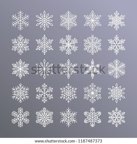 Cute snowflakes collection isolated on gradient background. Flat line snow icons, snow flakes silhouette. Nice element for christmas banner, cards. New year ornament.