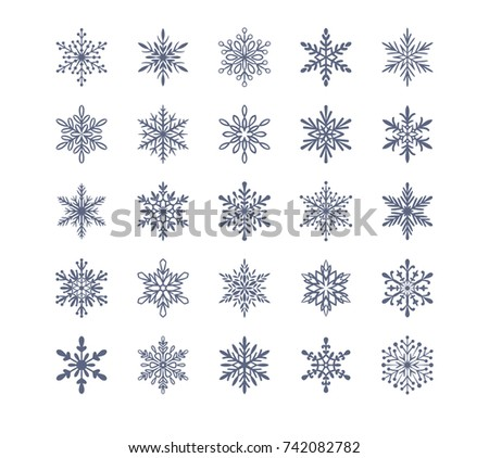 Cute snowflakes collection isolated on white background. Flat snow icons, silhouette. Nice element for christmas banner, cards. New year ornament.