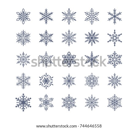 Cute snowflakes collection isolated on white background. Flat snow icons, silhouette. Nice element for christmas banner, cards.