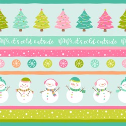 Cute snowman and christmas tree seamless pattern with stripes background