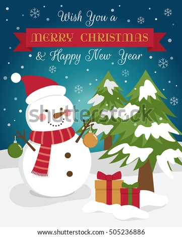 cute snowman illustration for merry christmas and happy new year card