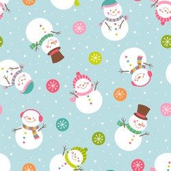 Cute snowman illustration with snowflakes seamless pattern background