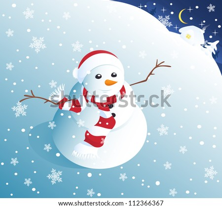 Cute snowman looking up at snowflakes