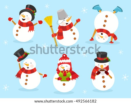 Stock Photo Cute Snowman Set