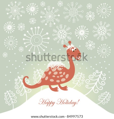 cute snowy dragon for greeting christmas card