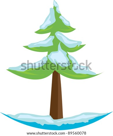 Cute snowy green tree on white background. Vector illustration.