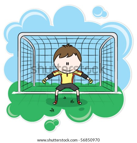 soccer goalie saves. Cute soccer goalkeeper on