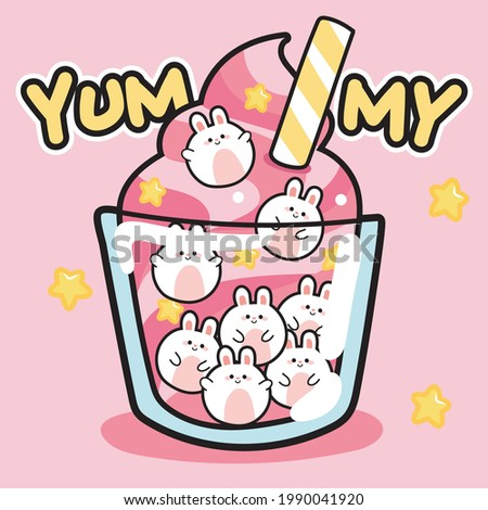Cute soft ice cream with rabbit bubble on pink background.Yummy text.Animal character design.Image for kid product,sticker,shirt print,wallpaper,card.Isolated.Art.Sweet.Kawaii.Vector.Illustration.