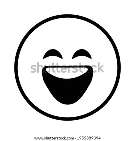 Cute solid line social media grinning face with smiling eyes emoji on white background. Royalty-free. Stock photo ©