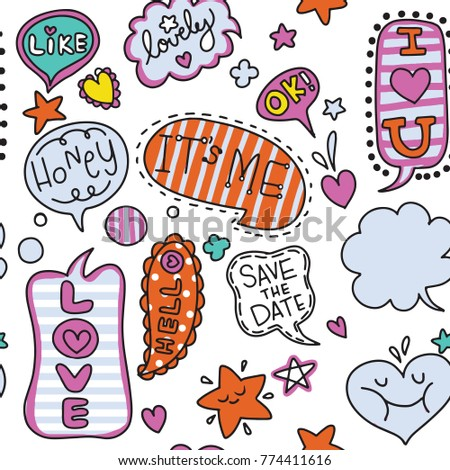 Cute speech bubble doodle set,Hand drawing Doodle,Vector illustration, seamless background doodle .Vector hand drawn illustration. #774411616