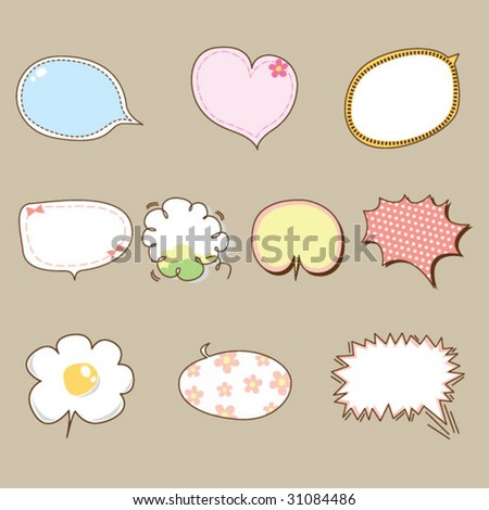 Quote Bubble Cute Cute Speech Bubbles Vector 02