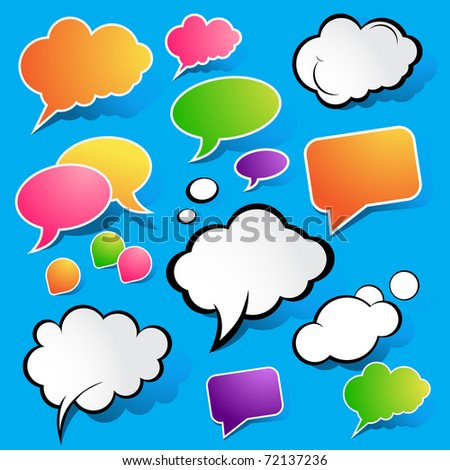 Cute Speech Bubbles, vector illustration.