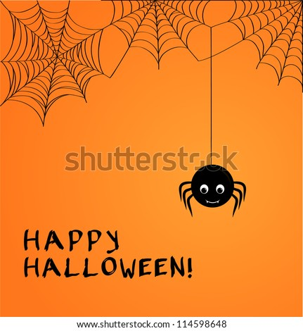 cute spider and webs over