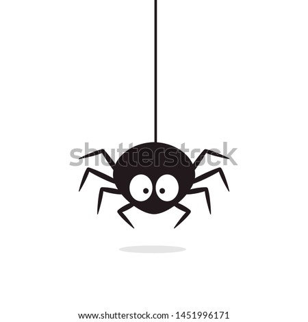 Cute Spider hanging on cobweb. Halloween character - Vector Stock photo ©