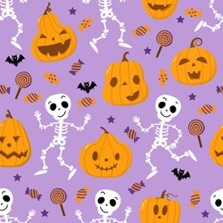 Cute spooky orange pumpkin, skeleton, bat, lollipop and candy seamless pattern. Halloween holidays cartoon character set. Trick or treat background. -Vector