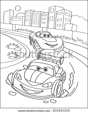 Cute sport cars in city, coloring page illustration. Coloring book outdoor sport theme. Funny race cars isolated on white background. eps10 vector illustration.