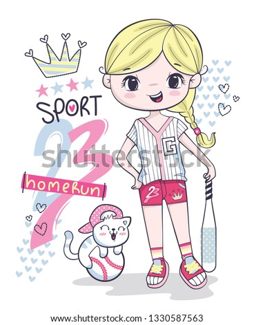 cute sporty girl cartoon
