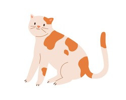 Cute spotted cat sitting with raised tail. Funny kitten with friendly smile isolated on white background. Colored flat cartoon vector illustration