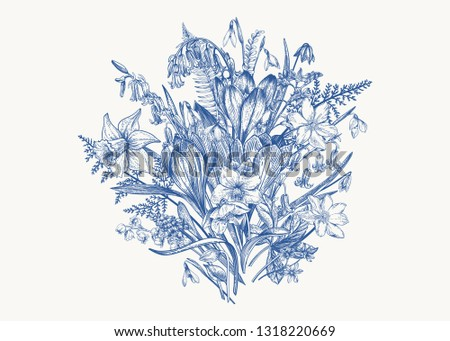 Cute spring bouquet in blue color.