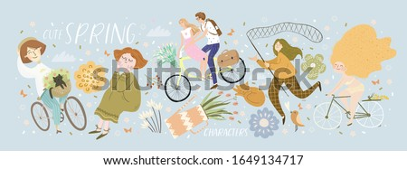 Cute spring characters! Vector cute illustration with girls on a bicycle, couple riding a bike, girl with a butterfly net, spring flowers and isolated objects. Drawings for a card, poster or postcard