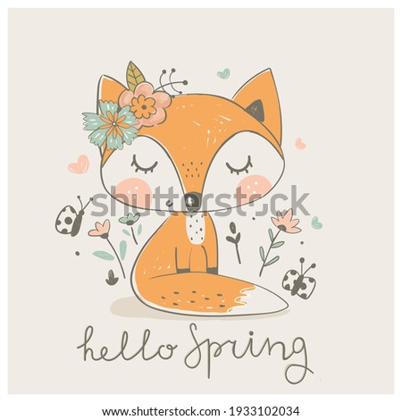 Cute spring fox with little birds. Hand drawn vector illustration.