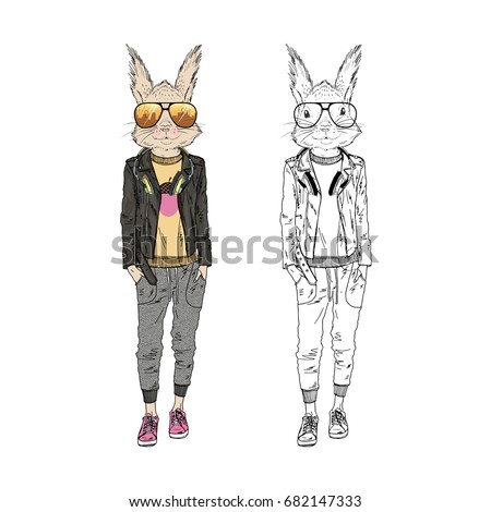 cute squirrel hipster girl