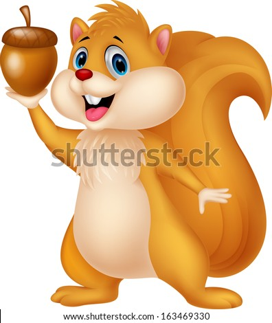 Cute squirrel holding nut