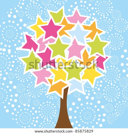 cute star tree over blue background. vector