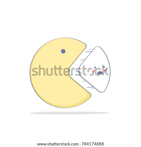 Cute Statistics illustration, fun pie chart. Data analysis, analytics concept in flat line design style. Business and finance template.
