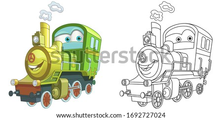 Cute steam train locomotive. Coloring page and colorful clipart character. Cartoon design for t shirt print, icon, logo, label, patch or sticker. Vector illustration.