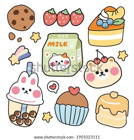 Cute sticker cartoon hand drawn.Animal character design.Rabbit,cat,bear,strawberry,cake,dessert.Kid graphic.Kawaii.Vector.Illustration