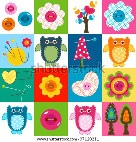 cute stitch owls and other baby themed elements