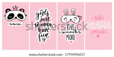 Cute stories template for social media, networks. Cute posters collection with Sleep masks and girls quotes. Pajama party concept. Eyemasks and hand drawn lettering design. Stock photo ©