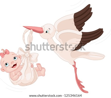 Cute stork carrying a baby girl