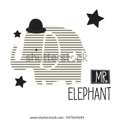 cute striped elephant in hat