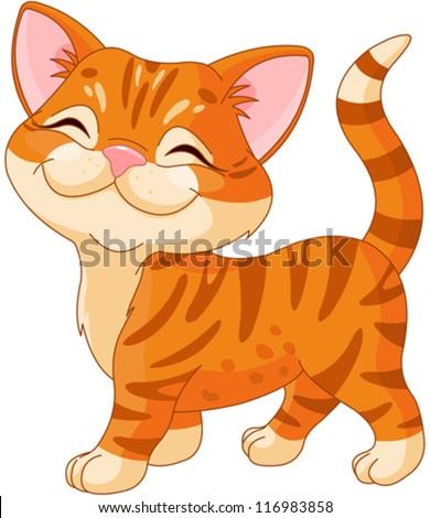 cute striped kitten walking