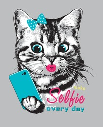 Cute striped kitten with smartphone making selfie. Vector illustration. Print for t shirt.