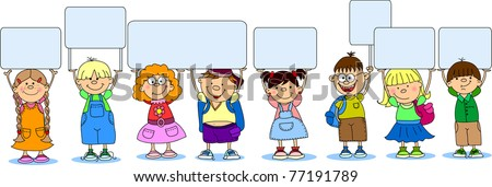 cute students hold a banners - stock vector