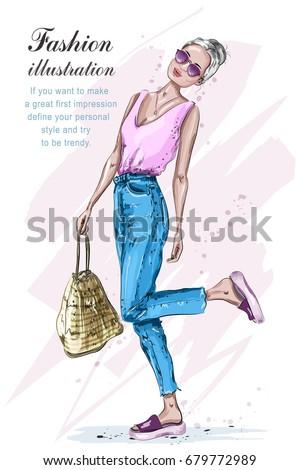 cute stylish girl in fashion