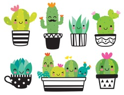 Cute succulent or cactus plant with happy face vector illustration set.