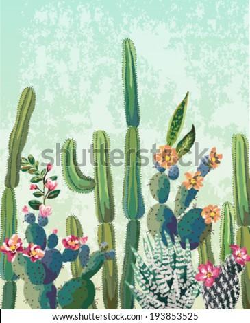 cute succulents cactus vector...