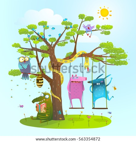Cute summer animals friends playing under the tree, swinging, reading.. Colorful happy childish monsters creatures and owl friendship. Vector illustration.